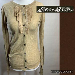 Eddie Bauer Tan Ruffle Neck Cardigan Sweater